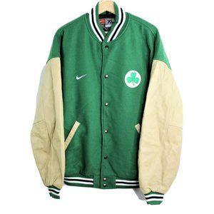 Vintage Nike Team Leather Wool Jacket NBA Boston